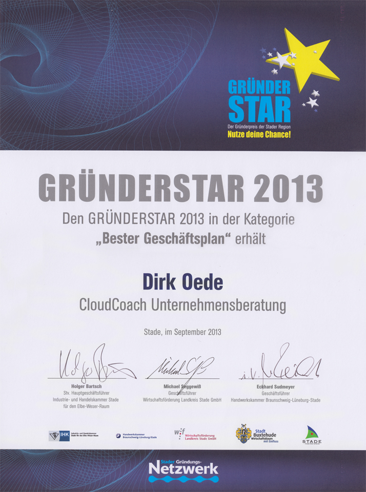 Gruenderstar 2013 CloudCoach.de